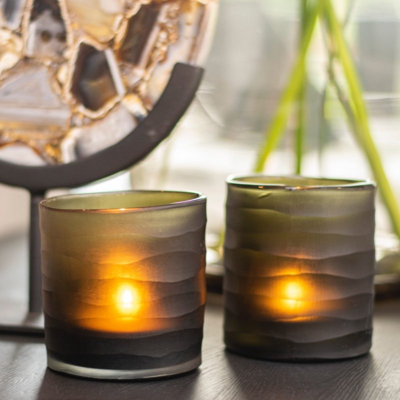 Craved candle cylinder brown