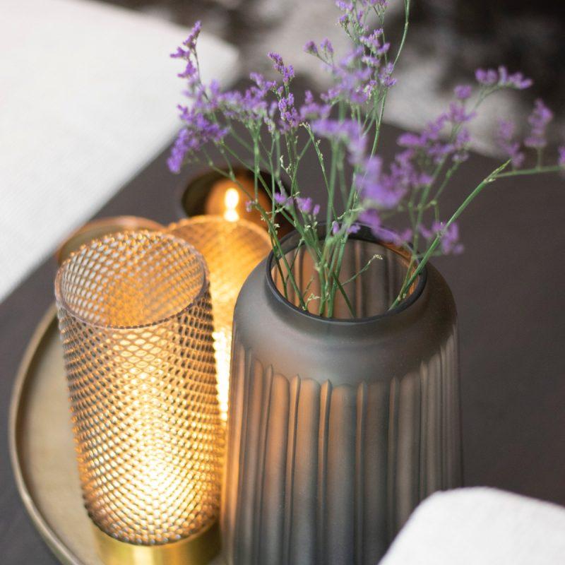 Glass craved vase grey
