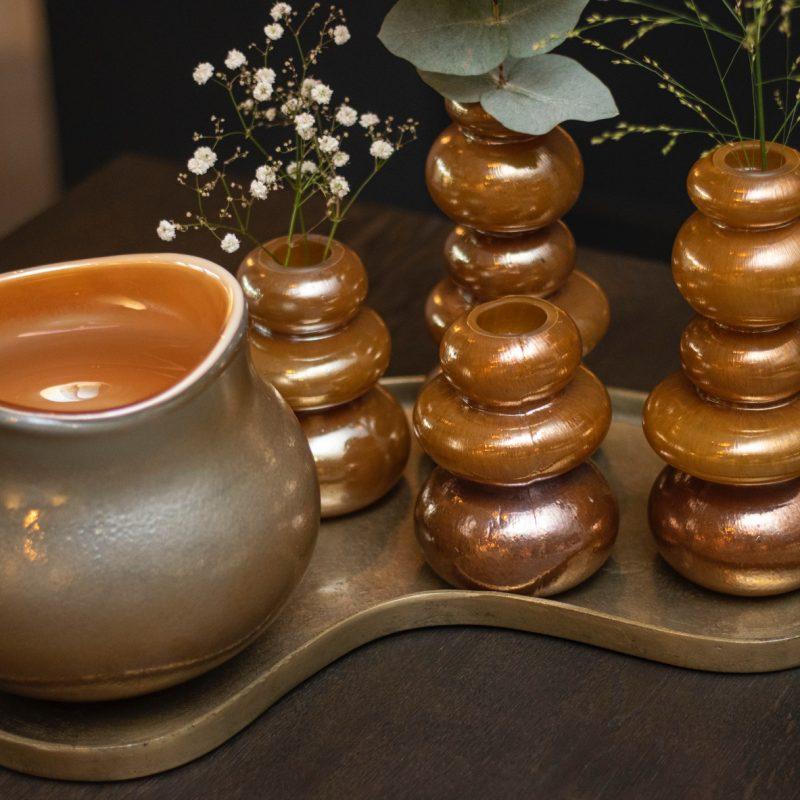 Pebble vase glass brown