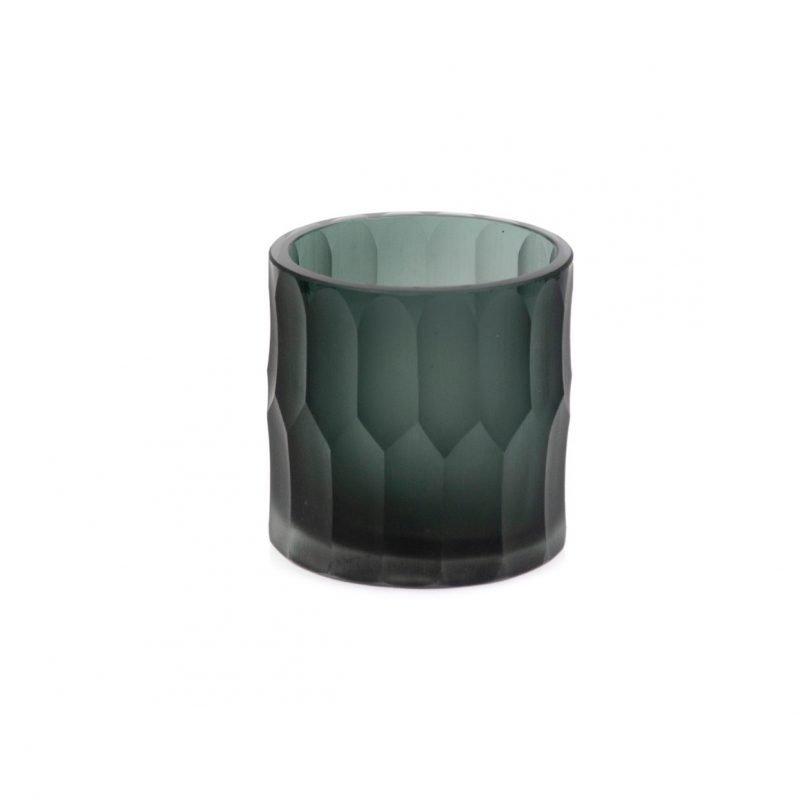 Craved glass t-light holder grey