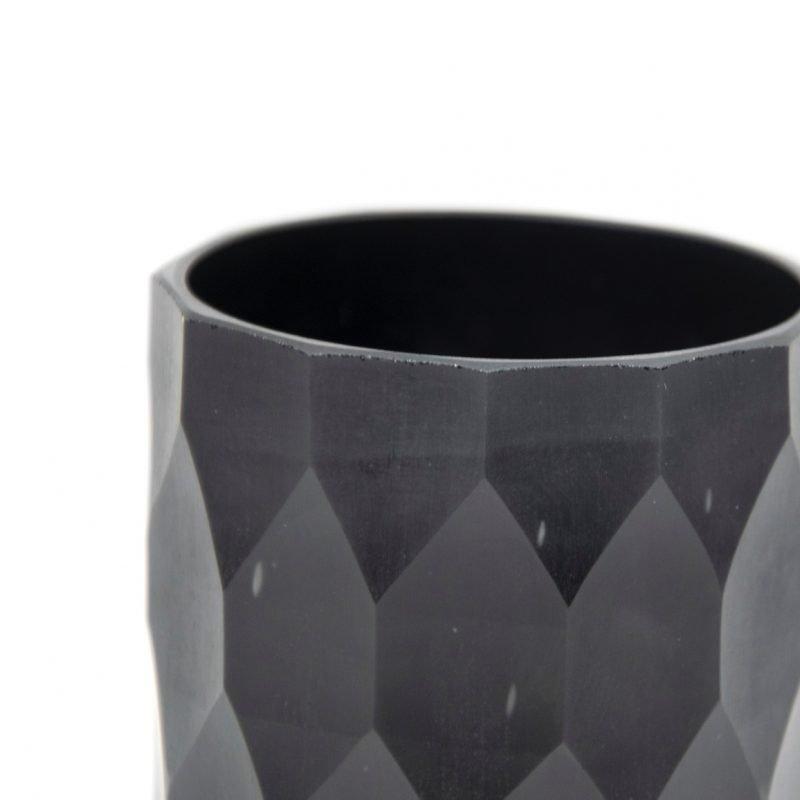 Glass Craved t-light holder black