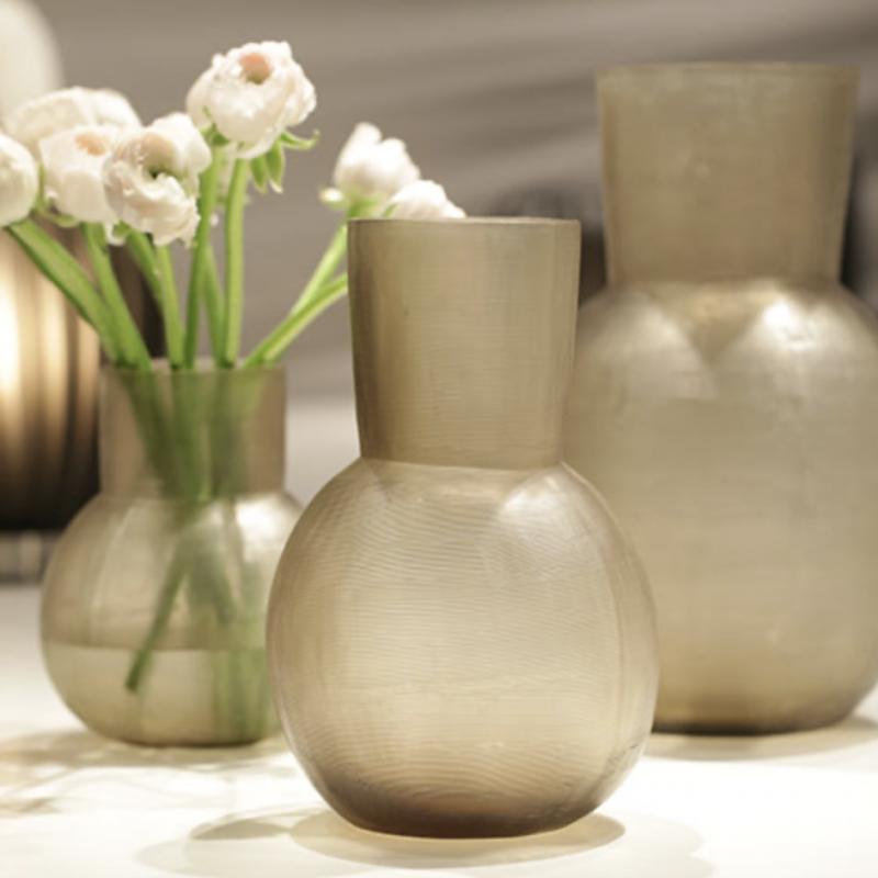 Glass vase Yeola beigegrey